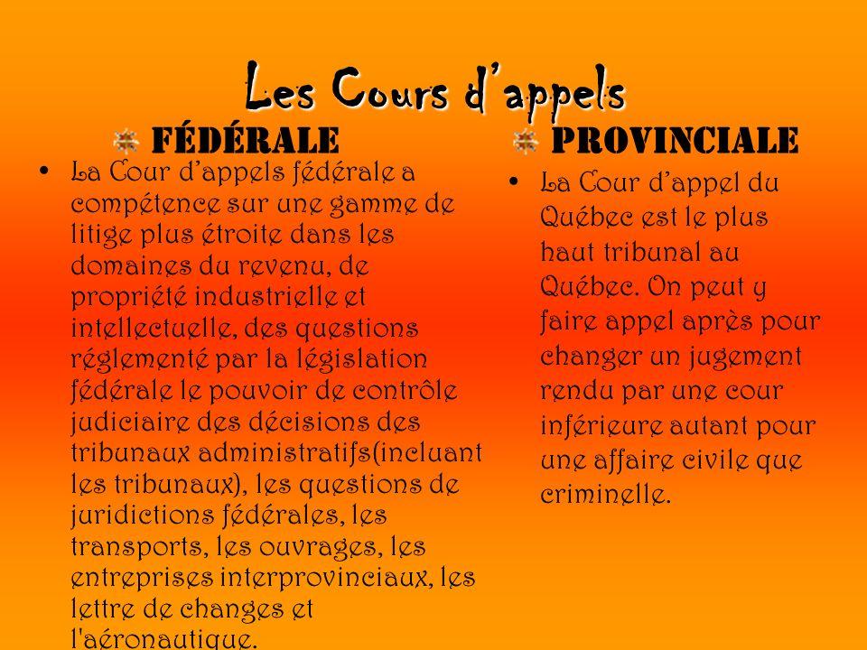 Les Cours dappels La Cour dappels fédérale a compétence sur une gamme de litige plus étroite dans les domaines du revenu, de propriété industrielle et