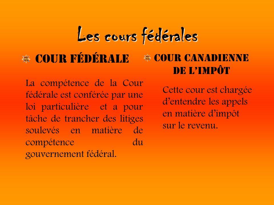 Les cours fédérales Cour Fédérale Cour Canadienne de limpôt La compétence de la Cour fédérale est conférée par une loi particulière et a pour tâche de