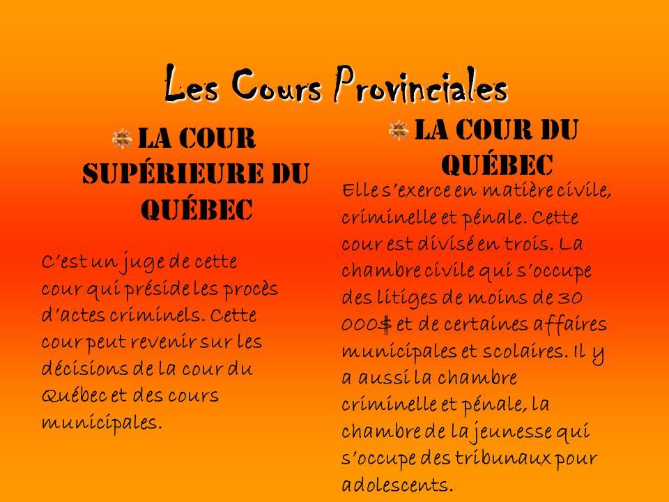 Les Cours Provinciales La Cour supérieure du Québec La Cour du Québec Elle sexerce en matière civile, criminelle et pénale. Cette cour est divisé en t