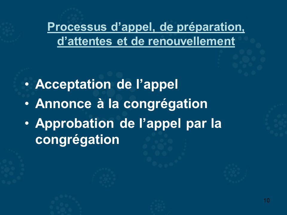 10 Acceptation de lappel Annonce à la congrégation Approbation de lappel par la congrégation Processus dappel, de préparation, dattentes et de renouve