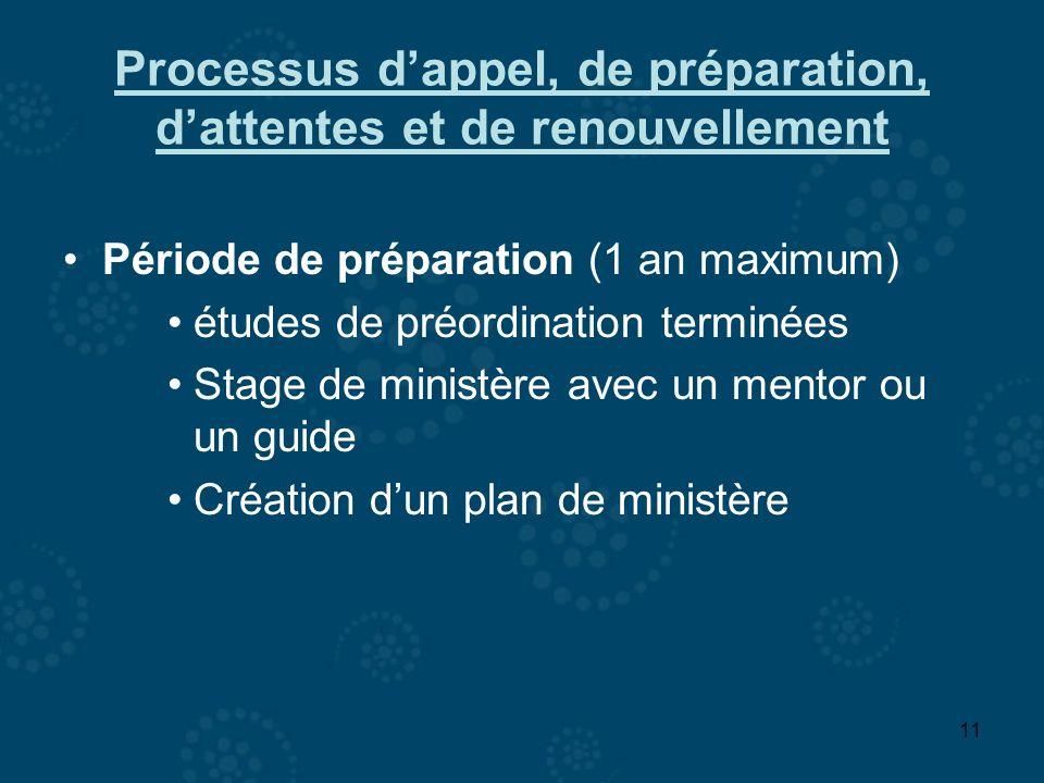 11 Processus dappel, de préparation, dattentes et de renouvellement Période de préparation (1 an maximum) études de préordination terminées Stage de m