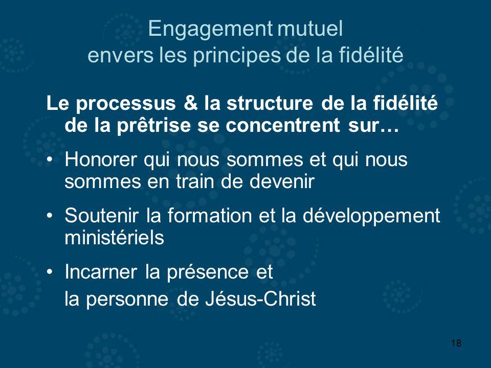 18 Engagement mutuel envers les principes de la fidélité Le processus & la structure de la fidélité de la prêtrise se concentrent sur… Honorer qui nou