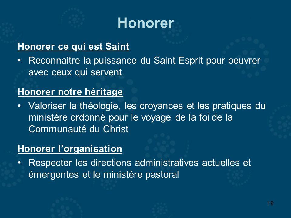 19 Honorer Honorer ce qui est Saint Reconnaitre la puissance du Saint Esprit pour oeuvrer avec ceux qui servent Honorer notre héritage Valoriser la th