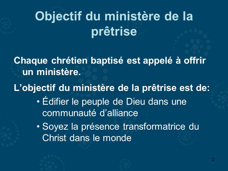 2 Objectif du ministère de la prêtrise Chaque chrétien baptisé est appelé à offrir un ministère. Lobjectif du ministère de la prêtrise est de: Édifier