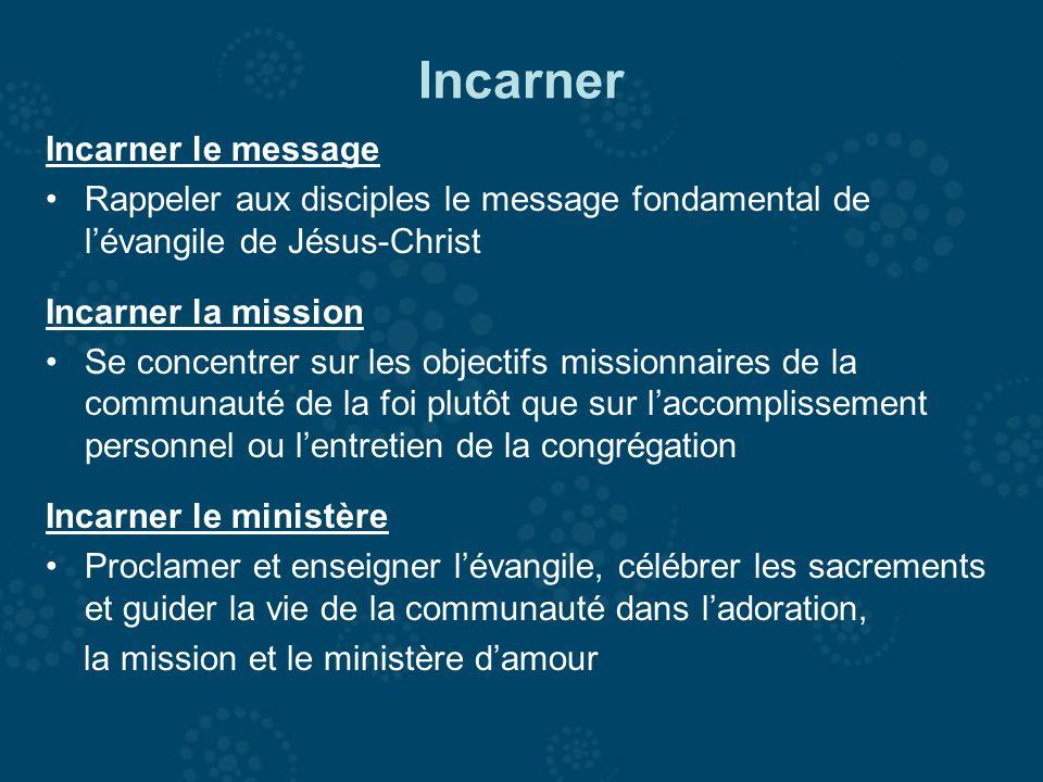 Incarner Incarner le message Rappeler aux disciples le message fondamental de lévangile de Jésus-Christ Incarner la mission Se concentrer sur les obje