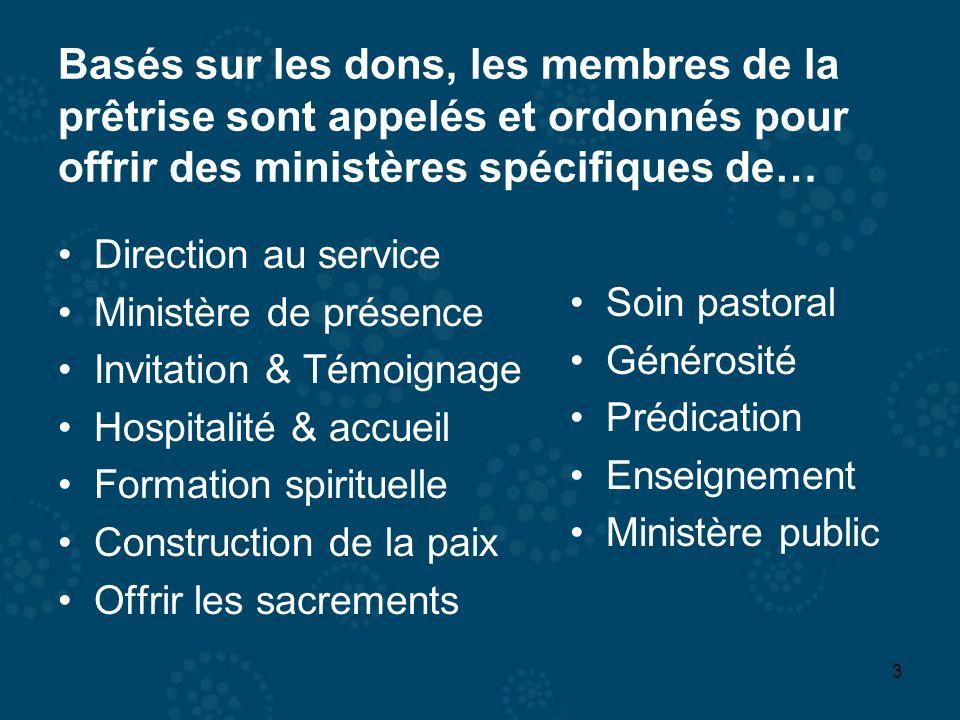 3 Basés sur les dons, les membres de la prêtrise sont appelés et ordonnés pour offrir des ministères spécifiques de… Direction au service Ministère de