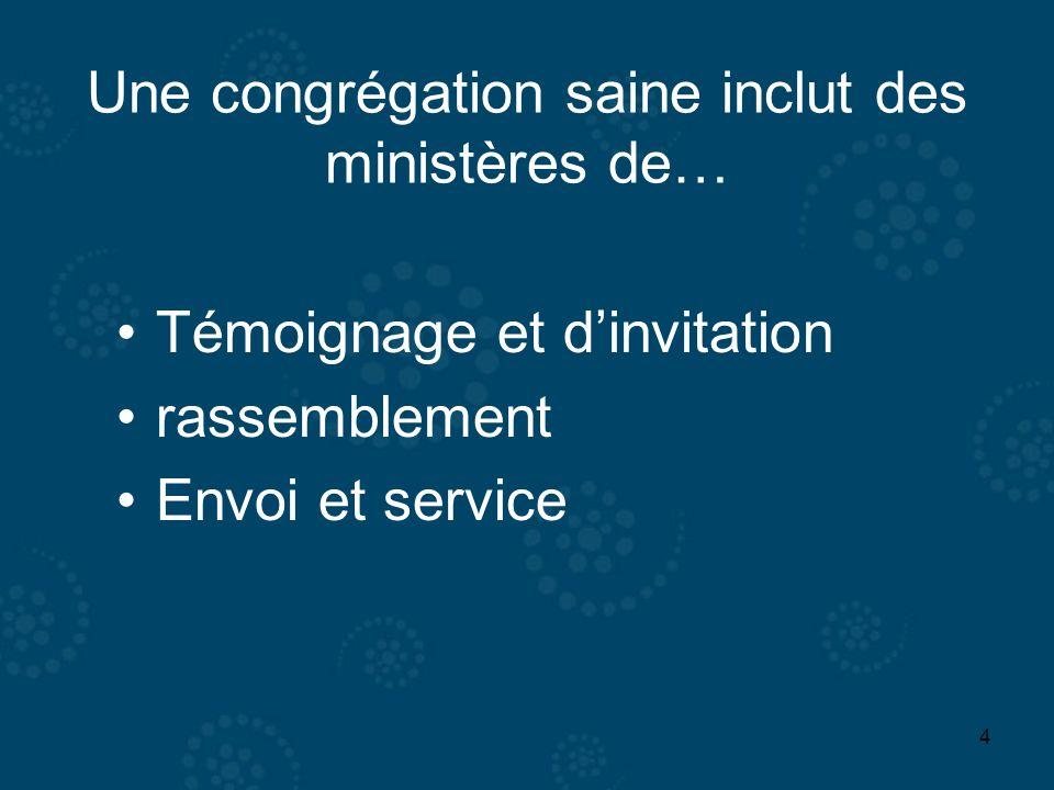 4 Une congrégation saine inclut des ministères de… Témoignage et dinvitation rassemblement Envoi et service