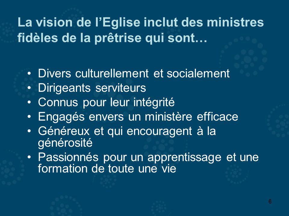6 La vision de lEglise inclut des ministres fidèles de la prêtrise qui sont… Divers culturellement et socialement Dirigeants serviteurs Connus pour le