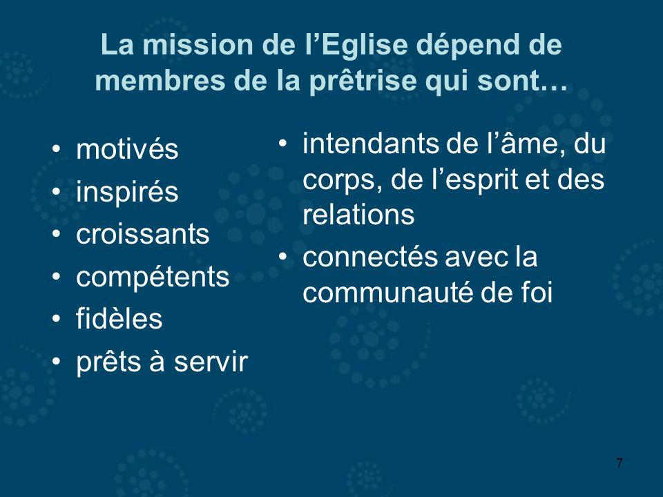 7 La mission de lEglise dépend de membres de la prêtrise qui sont… motivés inspirés croissants compétents fidèles prêts à servir intendants de lâme, d