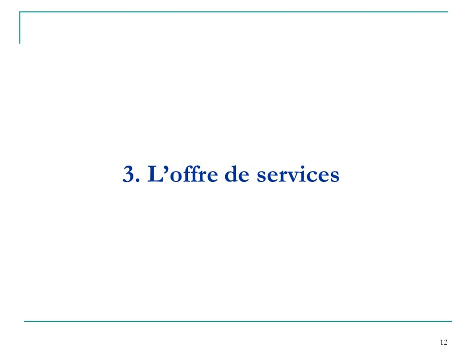 12 3. Loffre de services