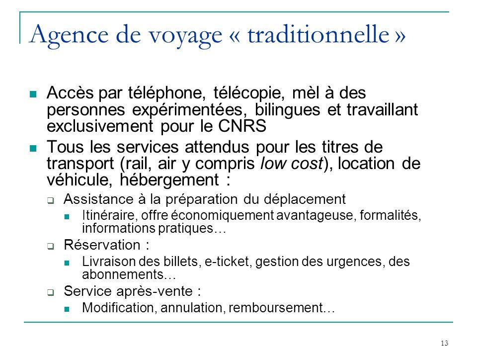13 Agence de voyage « traditionnelle » Accès par téléphone, télécopie, mèl à des personnes expérimentées, bilingues et travaillant exclusivement pour