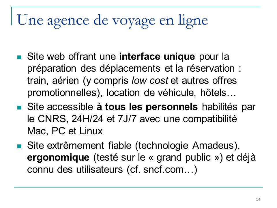 14 Une agence de voyage en ligne Site web offrant une interface unique pour la préparation des déplacements et la réservation : train, aérien (y compr