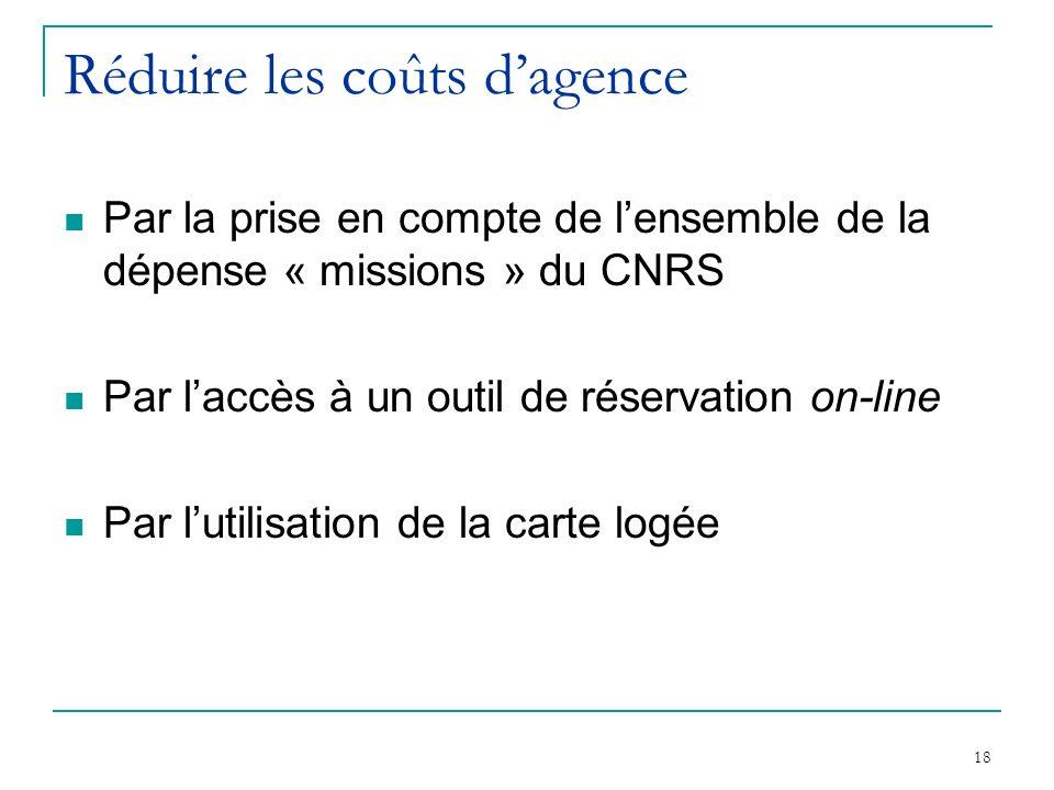 18 Réduire les coûts dagence Par la prise en compte de lensemble de la dépense « missions » du CNRS Par laccès à un outil de réservation on-line Par l