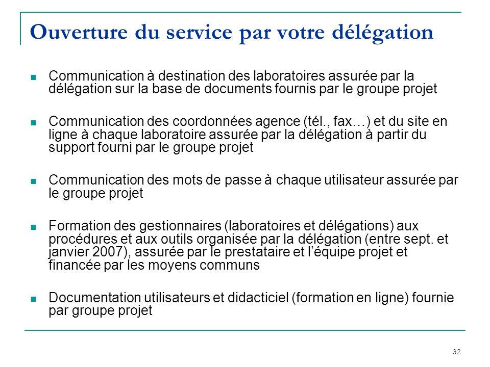 32 Ouverture du service par votre délégation Communication à destination des laboratoires assurée par la délégation sur la base de documents fournis p