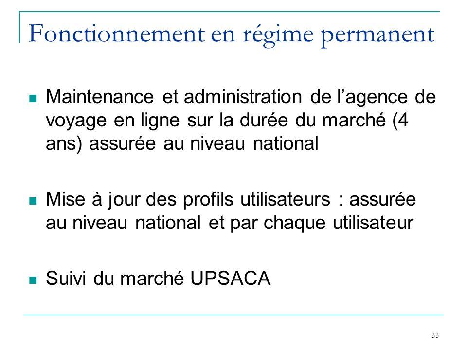 33 Fonctionnement en régime permanent Maintenance et administration de lagence de voyage en ligne sur la durée du marché (4 ans) assurée au niveau nat