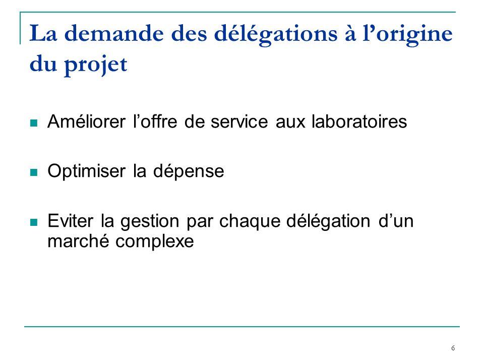 6 La demande des délégations à lorigine du projet Améliorer loffre de service aux laboratoires Optimiser la dépense Eviter la gestion par chaque délégation dun marché complexe