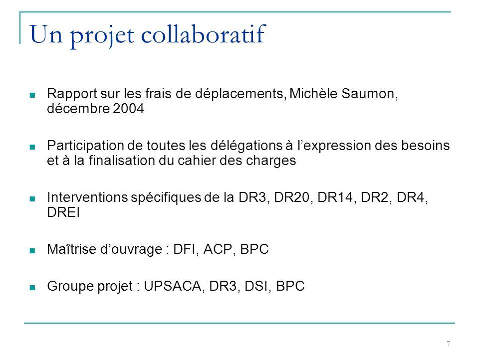 7 Un projet collaboratif Rapport sur les frais de déplacements, Michèle Saumon, décembre 2004 Participation de toutes les délégations à lexpression des besoins et à la finalisation du cahier des charges Interventions spécifiques de la DR3, DR20, DR14, DR2, DR4, DREI Maîtrise douvrage : DFI, ACP, BPC Groupe projet : UPSACA, DR3, DSI, BPC