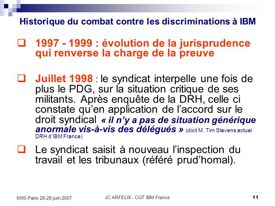 JC ARFELIX - CGT IBM France11 IWIS-Paris 26-28 juin 2007 1997 - 1999 : évolution de la jurisprudence qui renverse la charge de la preuve Juillet 1998