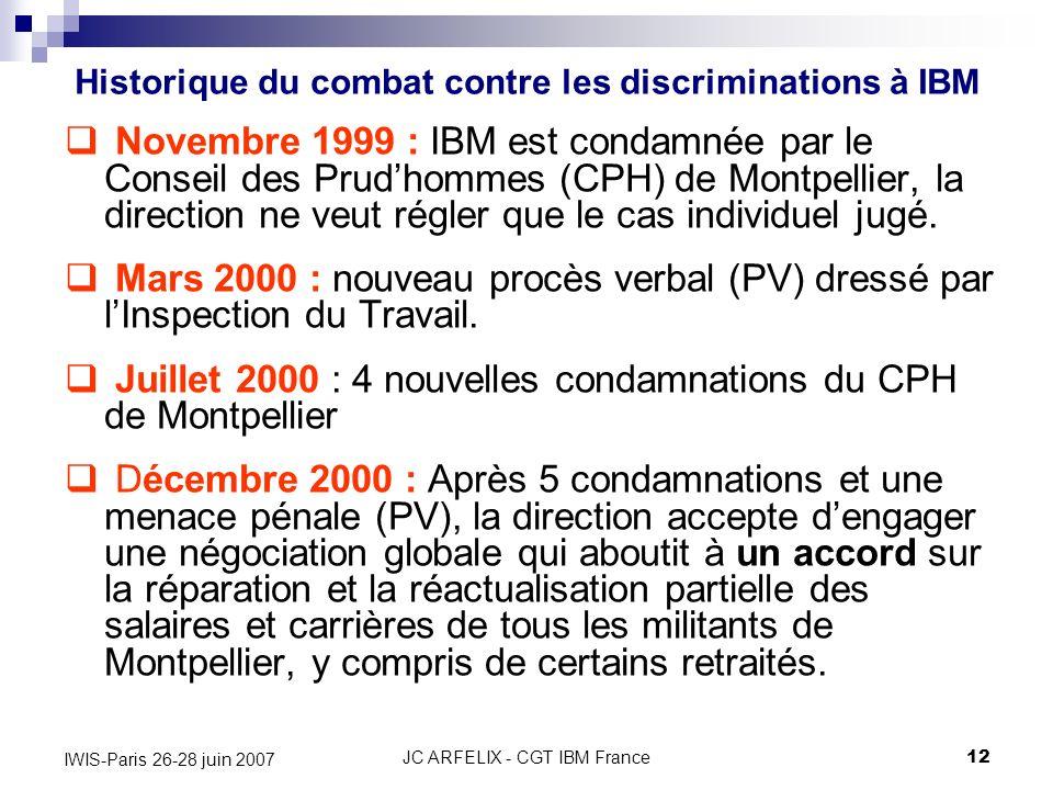 JC ARFELIX - CGT IBM France12 IWIS-Paris 26-28 juin 2007 Novembre 1999 : IBM est condamnée par le Conseil des Prudhommes (CPH) de Montpellier, la dire