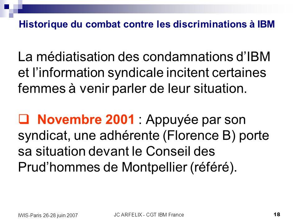 JC ARFELIX - CGT IBM France18 IWIS-Paris 26-28 juin 2007 La médiatisation des condamnations dIBM et linformation syndicale incitent certaines femmes à