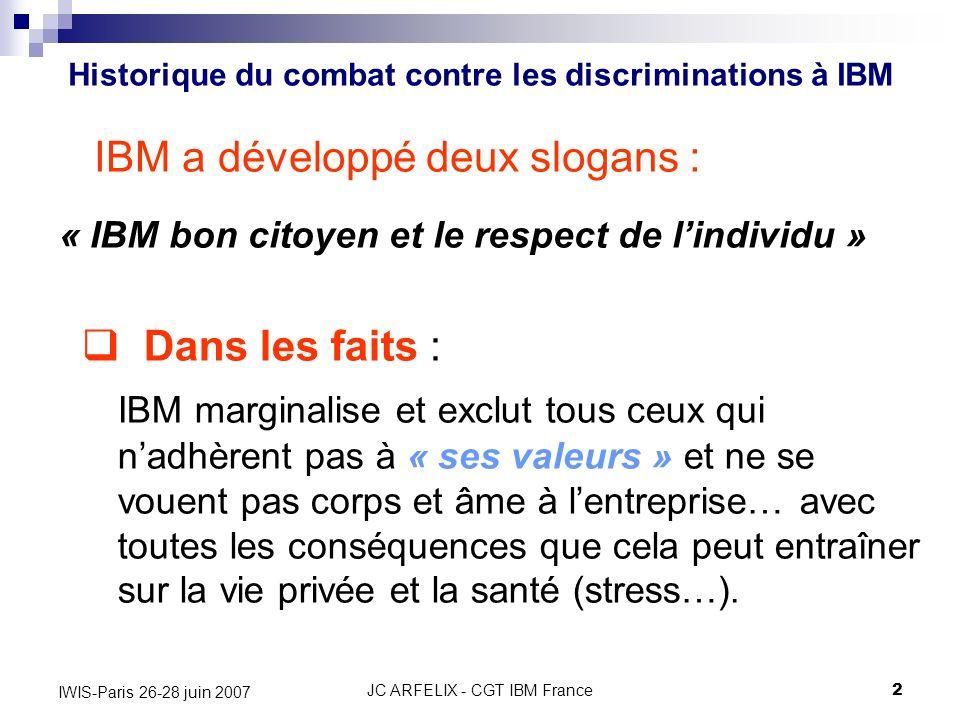 JC ARFELIX - CGT IBM France2 IWIS-Paris 26-28 juin 2007 IBM a développé deux slogans : « IBM bon citoyen et le respect de lindividu » Historique du co
