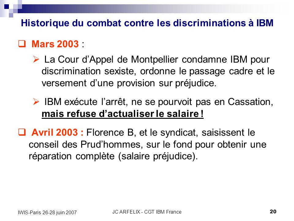 JC ARFELIX - CGT IBM France20 IWIS-Paris 26-28 juin 2007 Mars 2003 : La Cour dAppel de Montpellier condamne IBM pour discrimination sexiste, ordonne l