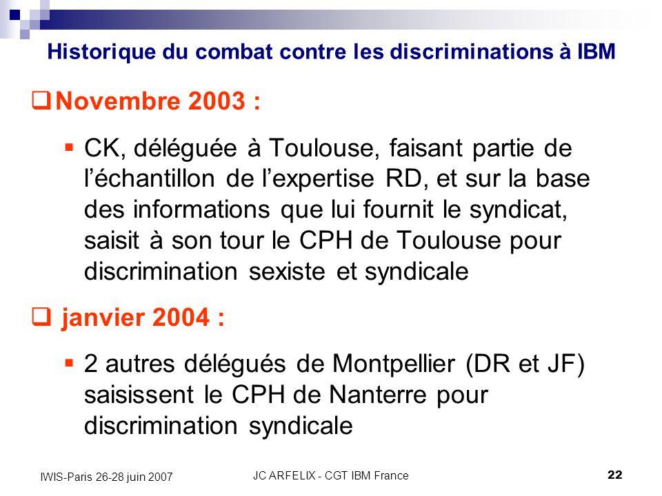JC ARFELIX - CGT IBM France22 IWIS-Paris 26-28 juin 2007 Novembre 2003 : CK, déléguée à Toulouse, faisant partie de léchantillon de lexpertise RD, et