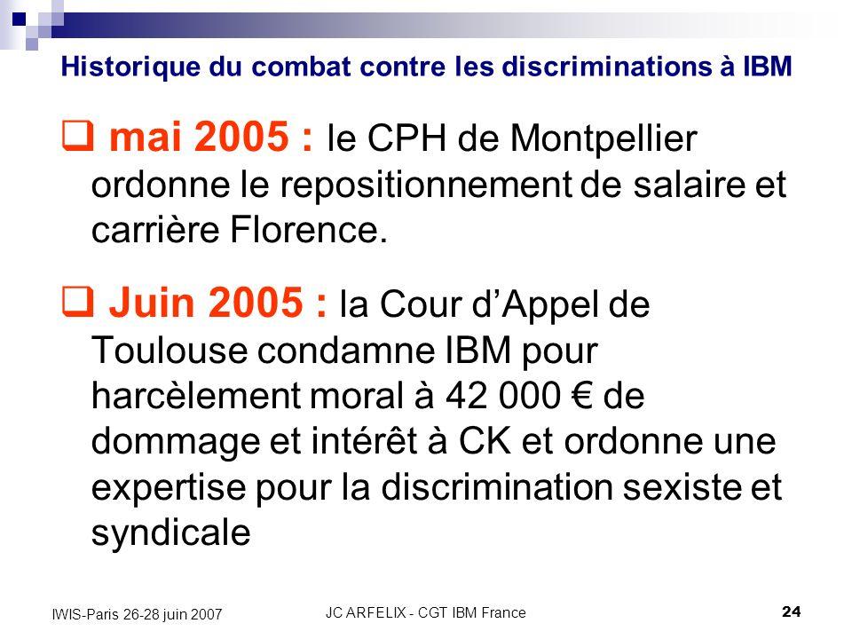 JC ARFELIX - CGT IBM France24 IWIS-Paris 26-28 juin 2007 mai 2005 : le CPH de Montpellier ordonne le repositionnement de salaire et carrière Florence.