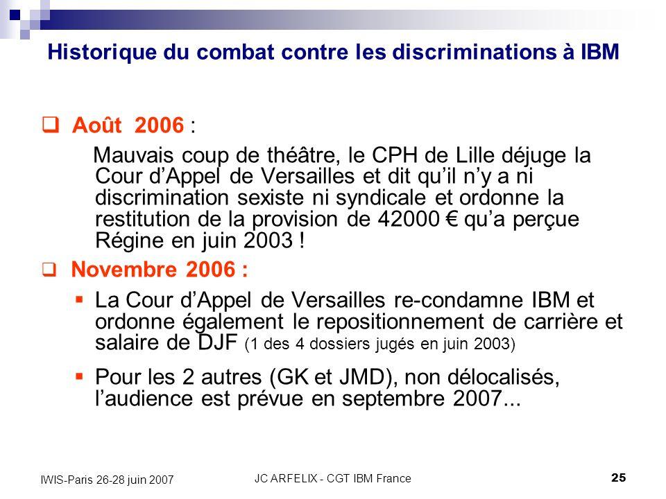JC ARFELIX - CGT IBM France25 IWIS-Paris 26-28 juin 2007 Août 2006 : Mauvais coup de théâtre, le CPH de Lille déjuge la Cour dAppel de Versailles et d