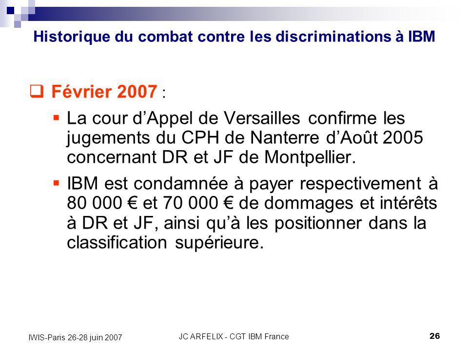 JC ARFELIX - CGT IBM France26 IWIS-Paris 26-28 juin 2007 Février 2007 : La cour dAppel de Versailles confirme les jugements du CPH de Nanterre dAoût 2