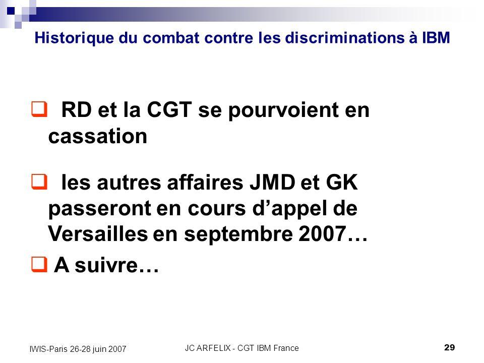 JC ARFELIX - CGT IBM France29 IWIS-Paris 26-28 juin 2007 Historique du combat contre les discriminations à IBM RD et la CGT se pourvoient en cassation