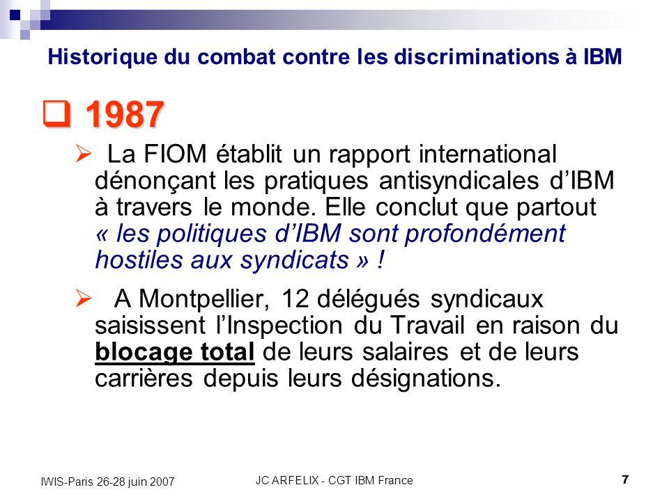 JC ARFELIX - CGT IBM France7 IWIS-Paris 26-28 juin 2007 1987 1987 La FIOM établit un rapport international dénonçant les pratiques antisyndicales dIBM