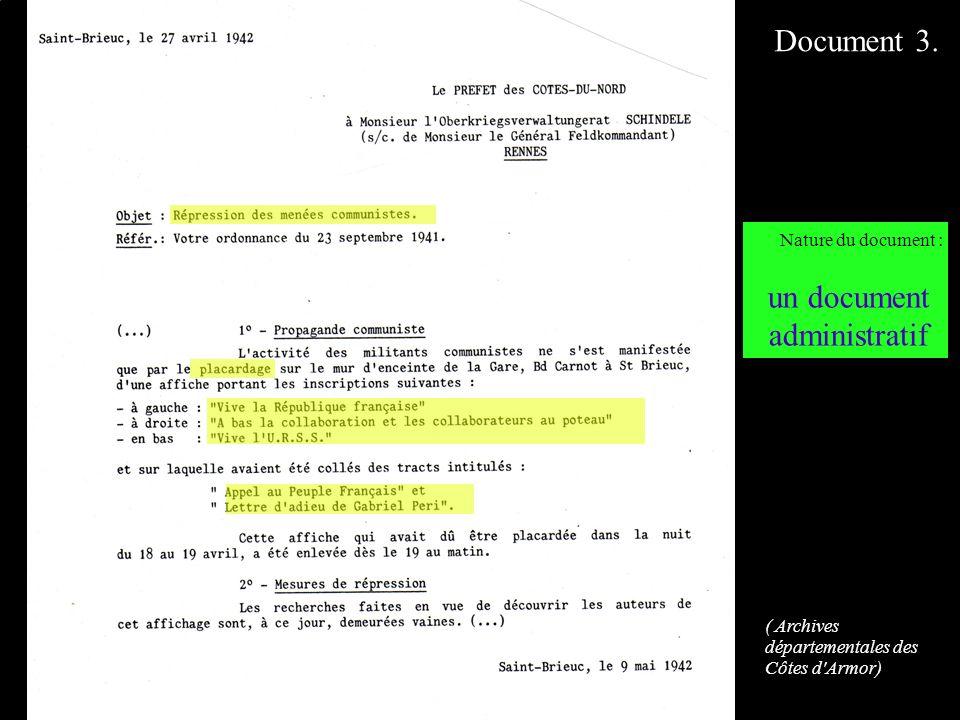 DOCUMENT 3. Nature du document : un document administratif Document 3. ( Archives départementales des Côtes d'Armor)