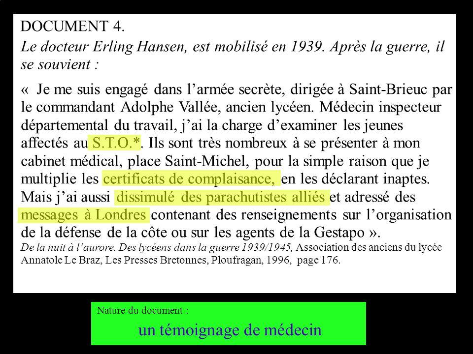 Le docteur Erling Hansen, est mobilisé en 1939. Après la guerre, il se souvient : « Je me suis engagé dans larmée secrète, dirigée à Saint-Brieuc par