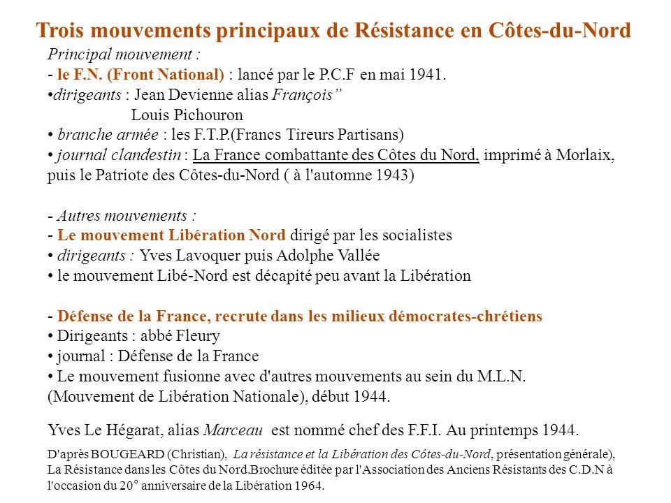 Principal mouvement : - le F.N. (Front National) : lancé par le P.C.F en mai 1941. dirigeants : Jean Devienne alias François Louis Pichouron branche a