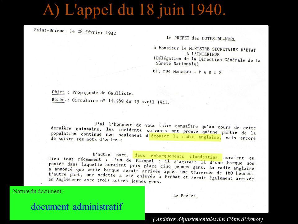 A) L'appel du 18 juin 1940. ( Archives départementales des Côtes d'Armor) Nature du document : document administratif