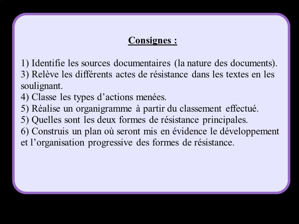 Consignes : 1) Identifie les sources documentaires (la nature des documents). 3) Relève les différents actes de résistance dans les textes en les soul