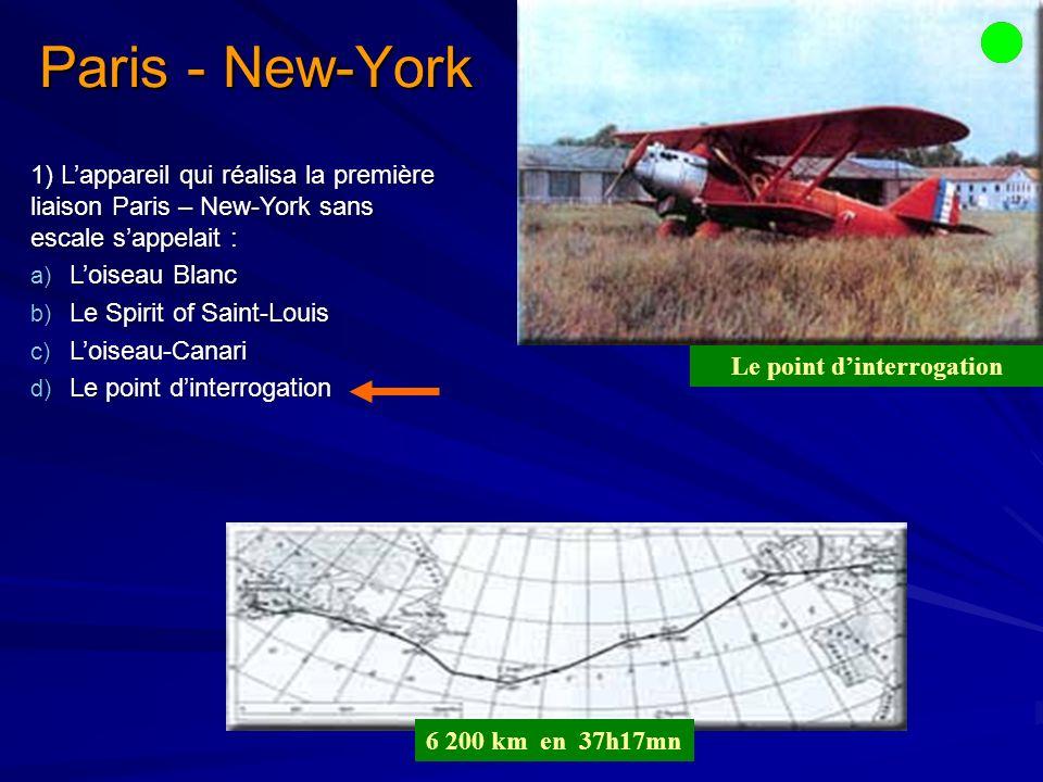 1) Lappareil qui réalisa la première liaison Paris – New-York sans escale sappelait : a) Loiseau Blanc b) Le Spirit of Saint-Louis c) Loiseau-Canari d) Le point dinterrogation Paris - New-York 6 200 km en 37h17mn Le point dinterrogation