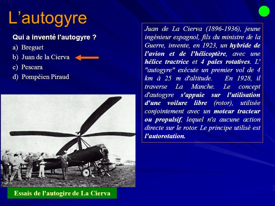 Lautogyre Qui a inventé l autogyre .