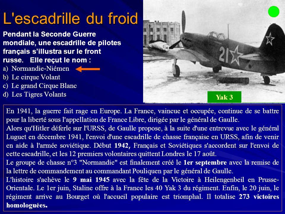L escadrille du froid Pendant la Seconde Guerre mondiale, une escadrille de pilotes français sillustra sur le front russe.