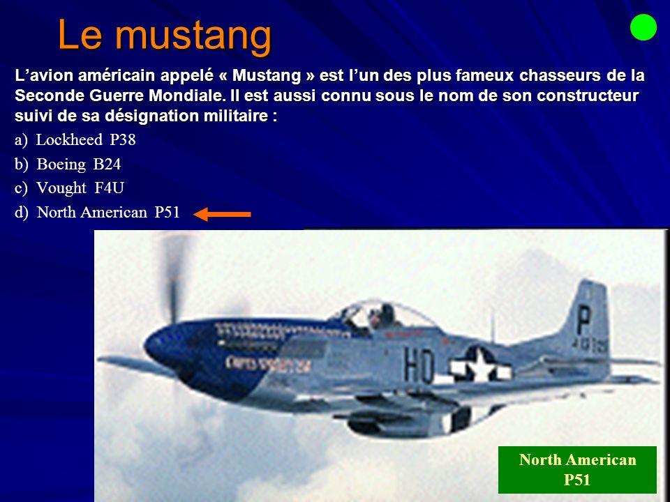 Le mustang Lavion américain appelé « Mustang » est lun des plus fameux chasseurs de la Seconde Guerre Mondiale.
