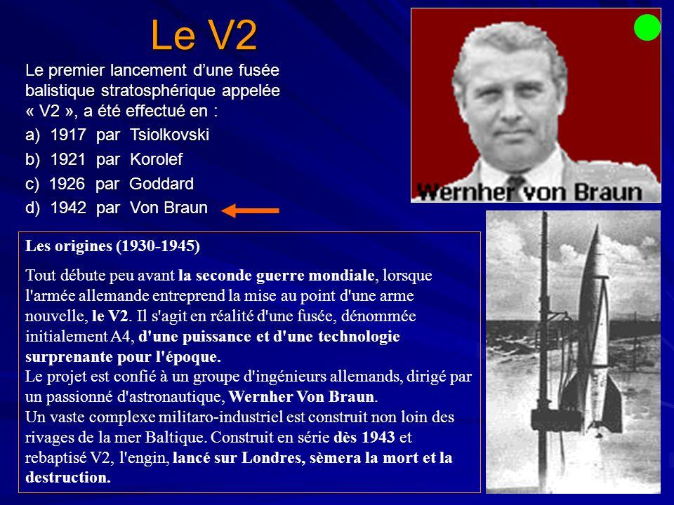 Le V2 Les origines (1930-1945) Tout débute peu avant la seconde guerre mondiale, lorsque l armée allemande entreprend la mise au point d une arme nouvelle, le V2.