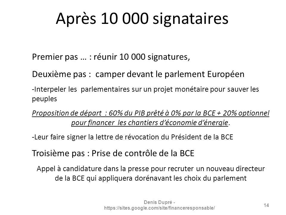 Premier pas … : réunir 10 000 signatures, Deuxième pas : camper devant le parlement Européen -Interpeler les parlementaires sur un projet monétaire pour sauver les peuples Proposition de départ : 60% du PIB prêté à 0% par la BCE + 20% optionnel pour financer les chantiers déconomie dénergie.