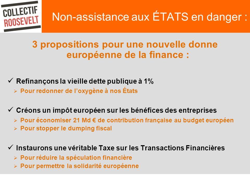 Non-assistance aux ÉTATS en danger : 3 propositions pour une nouvelle donne européenne de la finance : Refinançons la vieille dette publique à 1% Pour