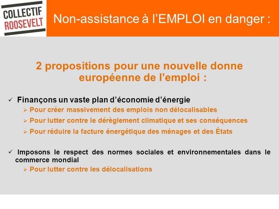 Non-assistance à lEMPLOI en danger : 2 propositions pour une nouvelle donne européenne de lemploi : Finançons un vaste plan déconomie dénergie Pour cr