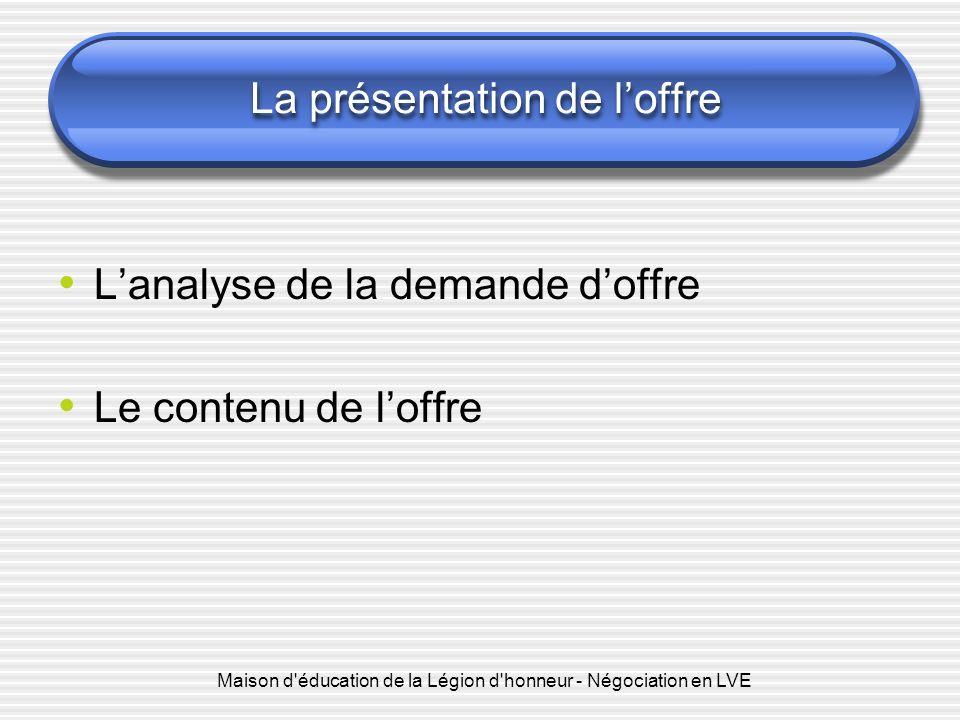 Maison d'éducation de la Légion d'honneur - Négociation en LVE La présentation de loffre Lanalyse de la demande doffre Le contenu de loffre