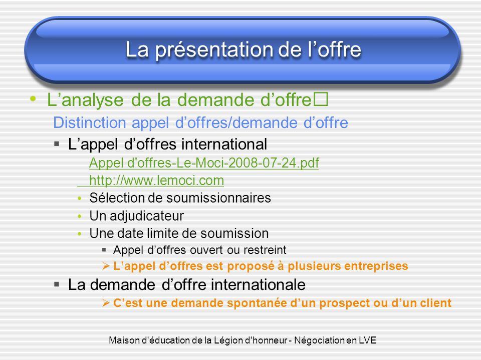 Maison d'éducation de la Légion d'honneur - Négociation en LVE La présentation de loffre Lanalyse de la demande doffre Distinction appel doffres/deman