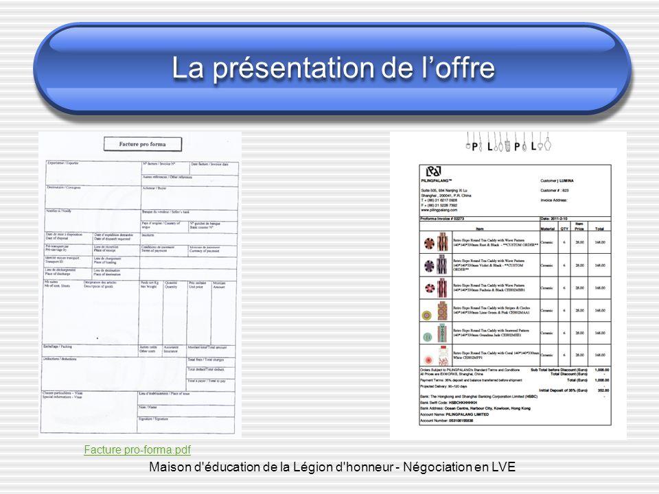 Maison d'éducation de la Légion d'honneur - Négociation en LVE La présentation de loffre Facture pro-forma.pdf