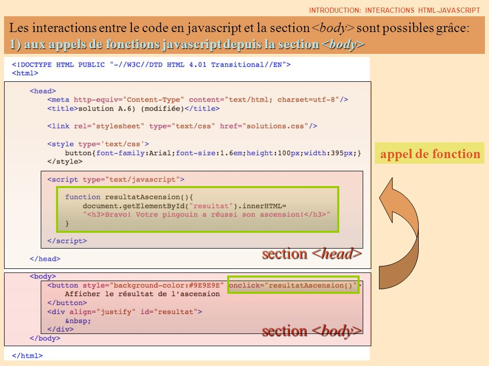 Les interactions entre le code en javascript et la section sont possibles grâce: 1) aux appels de fonctions javascript depuis la section 1) aux appels de fonctions javascript depuis la section section section INTRODUCTION: INTERACTIONS HTML-JAVASCRIPT appel de fonction