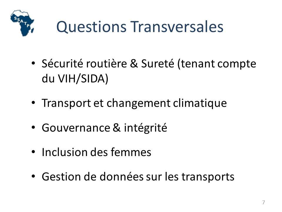 Questions Transversales Sécurité routière & Sureté (tenant compte du VIH/SIDA) Transport et changement climatique Gouvernance & intégrité Inclusion des femmes Gestion de données sur les transports 7
